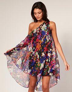 ASOS Floral One Shoulder Asymmetric Dress $80.69
