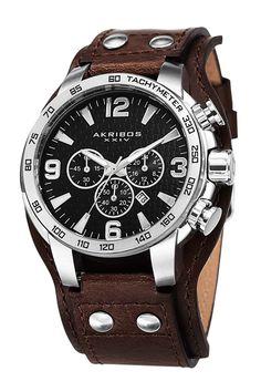 Leather Cuff Quartz Chronograph Watch