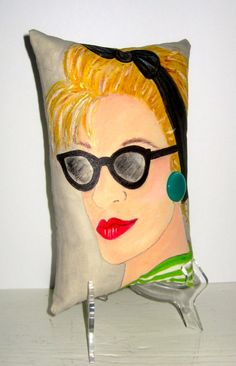 new..EMMA LONDON LADY hand painted pillow London by priscillamae,