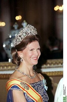 The Queen of Sweden dons the magnificent Braganza diamond tiara. Gorgeous!!