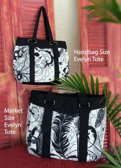 Goth Black and White Skull & Raven Evelyn Market Tote  Evelyn market size with a soft, modern shape. Handle lengths are designed to comfortably fit over your shoulder or in the crook of the elbow. Features a zippered top and an inside zippered pocket. What makes this bag stand out is the stripes and connectors on the outside to add to the style of this bag. This bag can hold quite a few items for a day out or as a carry on when flying.