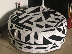 Upcycle tyre footrest or wide stool in black and white fabric to match white and black interior decor Black And White Fabric, Footrest, White Fabrics, Upcycle, Stool, Interior Decorating, Diy, Home Decor, Decoration Home