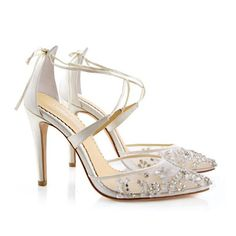 Bella Belle Florence Crystal Beaded Wedding Shoes. Stunning ivory bridal shoes with heavily beaded toe, & criss-cross straps.
