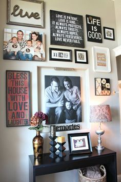 A gallery wall filled with artwork, framed family portraits and touches of inspiration provide guests a great introduction to your family and home.