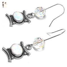 Lab Grown White Opal Sterling Silver Curved Bar Swarovski Crystal Earrings - Wedding earings (*Amazon Partner-Link)