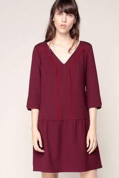 Robe bordeaux texturée broderie Litaly 1
