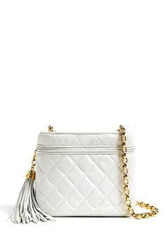 Chanel Vintage White Leather Quilted Chanel Camera Shoulder Bag By Rewind V