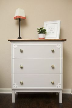 Ikea Hack Tarva Dresser - Ikea Hack Tarva Dresser with overlays, new knobs and a stained pine topper. I purchased the unfinished 3-Drawer Tarv…