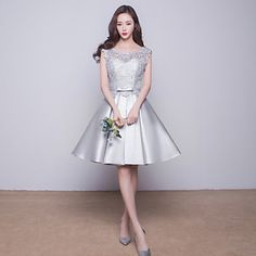 Knee-length+Satin+Bridesmaid+Dress+Ball+Gown+Jewel+with+Lace+/+Pockets+–+USD+$+69.99