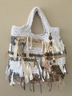 Daniela Gregis look-a-like shopper, tote bag. Crocheted cotton with embellishments and removable or re-positional bag jewelry. Gentle hand wash in cold water and lay flat. One-of-a-kind bag by Cherie.