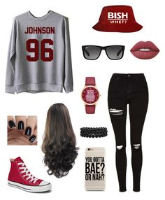 """""""❤️"""" by be-robinson ❤ liked on Polyvore featuring Topshop, Lime Crime, Converse, Ray-Ban, Bling Jewelry and Arizona"""