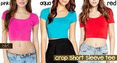 M-Crop Short Sleeve Tee Pink, Aqua, Red ONLY 55rb, bahan spandex adem lembut, fit S-L, pjg 40cm, cocok dipakai dengan hiwaist atau flare skirt atau shorts, UNLIMITED ORDER