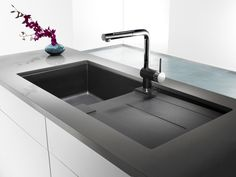 BLANCO - Silgranit, Natural Granite Composite Topmount Drainboard Kitchen Sink, Anthracite - - Home Depot Canada Blanco Kitchen Sinks, Blanco Sinks, Drop In Kitchen Sink, New Kitchen Cabinets, Kitchen Appliances, Composite Sinks, Single Bowl Sink, German Kitchen, Cuisines Design