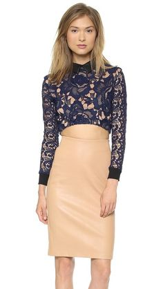 Shopbop: Self Portrait Cropped Lace Sweatshirt Top