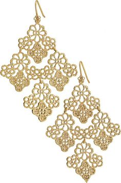 Chantilly Filigree Lace Gold Chandelier Earrings
