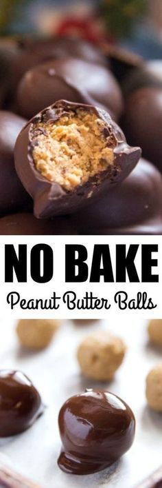 These easy no bake Peanut Butter Balls are perfect for when your oven is in high-demand. (chocolate fudge cake no bake) Easy Desserts, Delicious Desserts, Dessert Recipes, Yummy Food, Christmas Desserts, Cook Desserts, Tasty, Dessert Sauces, Recipes Dinner