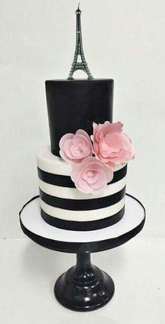 Cute black and white Paris themed cake