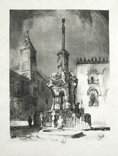 Howard Leigh's original lithograph, Fountain, Carmona is one of his largest and most impressive architectural renderings. This impression is printed upon 'Rives' watermarked paper and with large, deckled margins as printed around 1920. It is signed in pencil under the image. Fountain, Carmona is a fine, originl example of the architectural and landscape art created by the American artist, Howard Leigh.