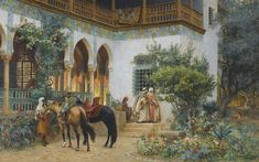 A North African Courtyard by Frederick Arthur Bridgman