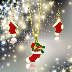 christmas socks earring & necklace