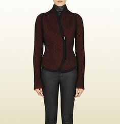 bicolor stitched knit jacket