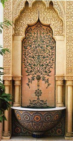 Ornate fountain in Morocco Moorish Architecture Plus Art Et Architecture, Islamic Architecture, Architecture Details, Amazing Architecture, Moroccan Design, Moroccan Decor, Moroccan Style, Moroccan Garden, Arabesque