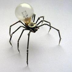 Junkbot clockwork spiders with lightbulbs - Boing Boing