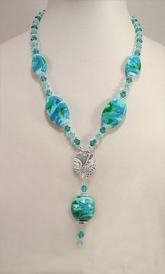 Handmade Lampwork Bead and Sterling Silver Necklace - Green, Blue Turquoise - SRAJD