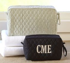 Ticking Stripe Cosmetic Bags, Set of 2