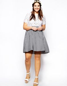 ASOS CURVE Skater Dress In Broderie And Gingham UK Size:24  RRP £38.00