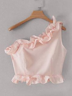 Shein Frill Trim One Shoulder Top - - Shein Frill Trim One Shoulder Top Source by conniesabi Stylish Blouse Design, Fancy Blouse Designs, Saree Blouse Designs, Crop Top Designs, Teen Fashion Outfits, Girl Fashion, Girl Outfits, Fashion Dresses, Crop Top Outfits
