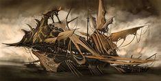 Risultati immagini per pirate ship fantasy The Elder Scrolls, Warhammer Dark Elves, Storm Kings Thunder, Ghost Ship, Spaceship Design, Dark Elf, Dieselpunk, Steampunk Airship, Steampunk Pirate