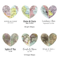 MAP OF OUR HEARTS | personalized, couples, maps, hometown | UncommonGoods