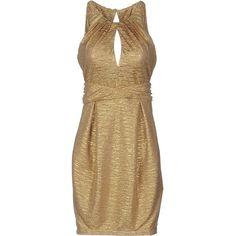 Annarita N. Short Dress ($145) ❤ liked on Polyvore featuring dresses, gold, short tube dress, brown tube dress, sleeveless short dress, pocket dress and mini dress