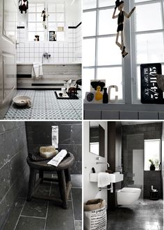 bottom left tiles for black bathroom Mansion Bathrooms, Tiled Bathrooms, Grey Bathrooms, Gray Bathroom Decor, Bathroom Renos, Bathroom Ideas, Floating Sink, Colour Block, Bath Ideas