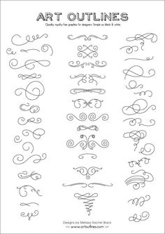 Set of Swashes Swirls Full Page - 46 Original Hand Drawn Flourishes, Glyphs and Ornaments. $12.95, via Etsy.