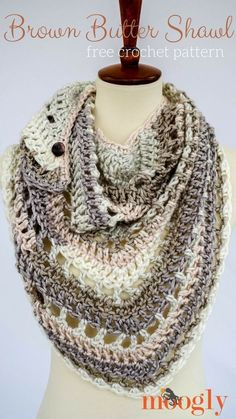 Brown Butter Shawl ifree crochet pattern in Soft Essentials Stripes yarn designed by Moogly.
