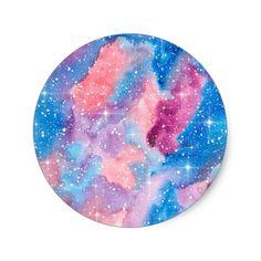 Space Art Watercolor Galaxy Classic Round Sticker