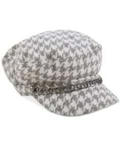 August Hats Shimmer and Shine Houndstooth Conductor Cap - Grey/white