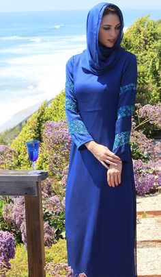 Fast shipping and 30 day returns on chic Modest Maxi Dresses, Caftans, Jilbabs and Abayas. Modest Maxi Dress, Modest Wear, Maxi Dresses, Evening Dresses, Blue Abaya, Muslim Dress, Royal Blue Dresses, Cut And Style, Fit And Flare