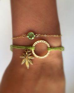Super Cute Cannabis Charm Hemp Bracelet on Etsy, $6.50