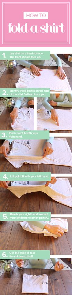 Follow this video tutorial to fold a shirt in 2 seconds. It's so easy.