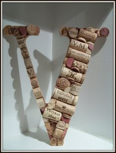 Wine Cork Letter V by MyMamaMaria on Etsy, $65.00 - I'm gonna figure out how to make this.