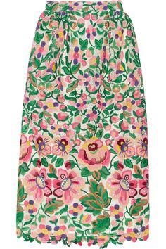 Valentino|Macramé lace midi skirt|NET-A-PORTER.COM