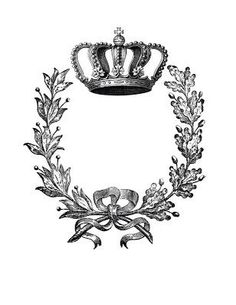 Great crown and laurel wreath from The Graphics Fairy. Print to desired size with a laser printer and use Artisan Enhancements Transfer Gel to transfer image to your project! Graphics Fairy, Silhouette Cameo, French Typography, Images Vintage, Laurel Wreath, Style Retro, Sgraffito, Iron On Transfer, Vintage Labels