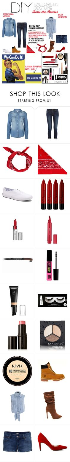 """""""All About Fashion: DIY Halloween Costume- Rosie The Riveter"""" by ablondebabe ❤ liked on Polyvore featuring Vero Moda, Frame, Boohoo, NLY Accessories, Keds, NYX, Maybelline, e.l.f., Ultimate and Laura Mercier"""