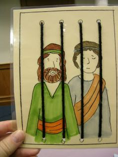 Paul And Silas In Prison Sewing Card For The Really Little Ones Could Use Preschool Bible CraftsBible ActivitiesSunday