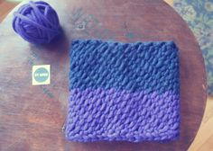 color-blocked cowl : navy + blueberry