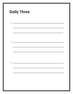 I use this list to set three goals for each day.