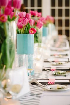 Colorful & Eclectic Rosemary Beach Wedding  Absolutely LOVE tulips and these colors together